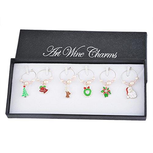 souarts Colores Mix Cristal Marcador Copa de vino Wine Glass Markers Cristal Marcadores colgante decoración