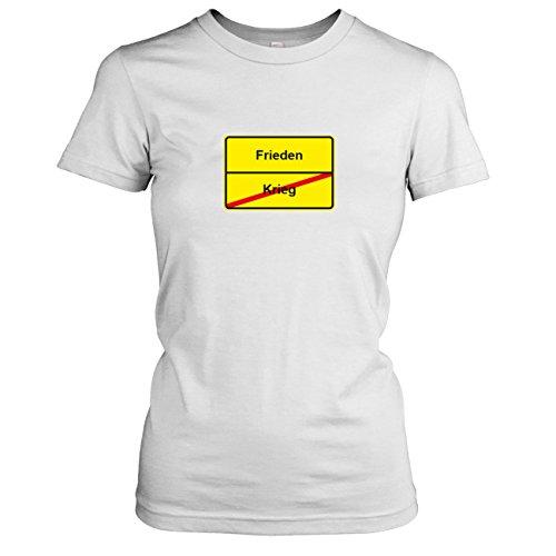 TEXLAB - Schluss mit Krieg Schild - Damen T-Shirt, Größe XL, weiß