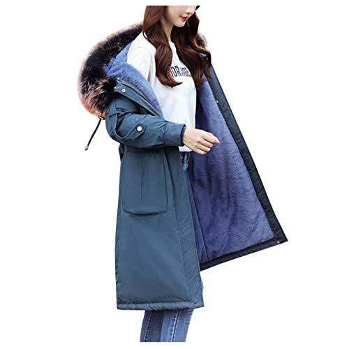 TianWlio 4 Farben Frauen Lange Oberbekleidung Lammfell Liner Großer Kragen Baumwolle Anzug Mantel Blau XXL -