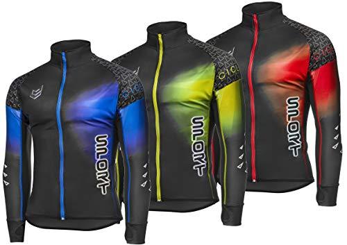 Herren Damen Fahrrad Trikot Lange Ärmel Langarm Radtrikot - Atmungsaktiv Bequem - Anti UV und Anti Schweiß - Shirts - Fahrradtrikot mit reissverschluss Schwarz Blau Neon Fluo Rot Grün (XL, Blue) -