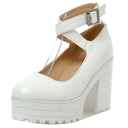 COOLCEPT Damen Mode High Heels Pumps White