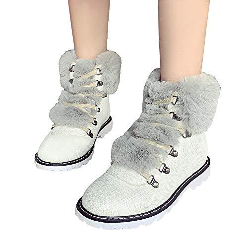 TianWlio Stiefel Damen Winter Lässig Schnür Runde Zehe Flaches Leder Behalte Warme Schuhe Schneestiefel White 39