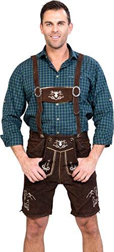 Almwerk Herren Trachten Lederhose kurz Platzhirsch in verschiedenen Farben, Farbe:Braun;Lederhose Größe Herren:46