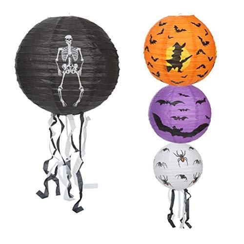 Halloween Papierlaternen Schalter Spinne Schädel Fledermaus Muster Hängen Nachtlicht mit Quaste für Halloween Scary Theme Maskerade Party Decor ()