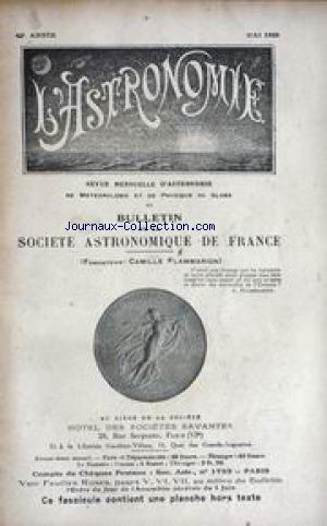 ASTRONOMIE (L') [No 5] du 01/05/1929 - CONCEPTION DE LA GRAVITATION UNIVERSELLE EN GRECE ANTIQUE - COMETES PERIODIQUES - ACTIVITE SOLAIRE - JUPITER - ANDROMEDE. par Collectif