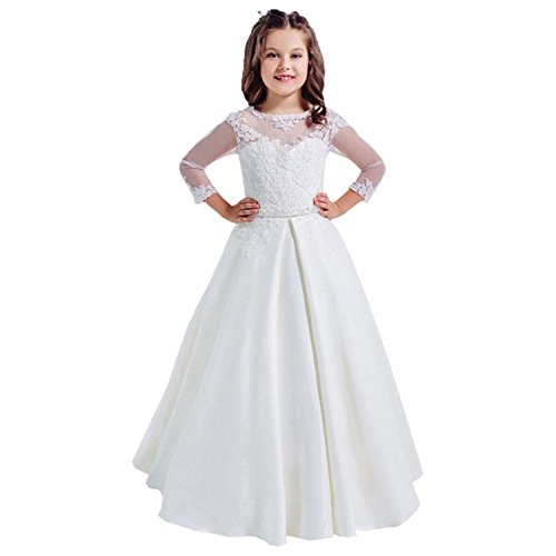 Lilis elegant half sleeves girls first communion dress for 10 year old dresses for weddings