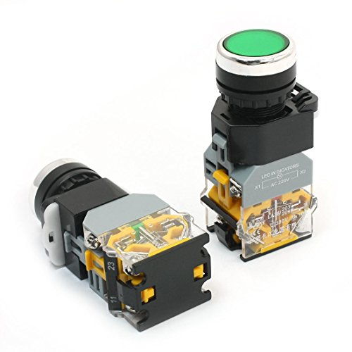 2 PCS 380 V 10 A Green Light DPST 1 NO 1 NC Momentary Push Button Switch