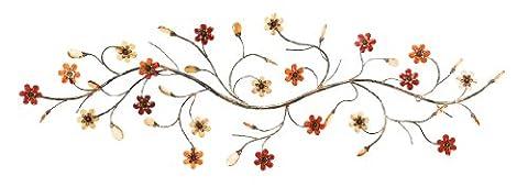 Deco 79Décoration murale en métal avec fleurs Loaded Twig