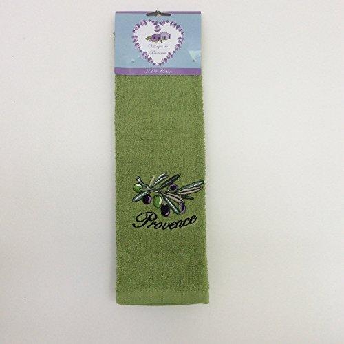 Torchon en éponge 100% Coton uni rectangle 50X70 cm - Broderie Branche d'Olives - Vert foncé