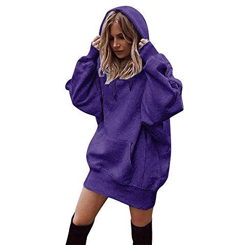 Riou Damen Kapuzenpullover Hoodie Pullover,Frauen Elegante Blusen Oberteil Sweatshirt Langarmshirt Outerwear Frauen Einfarbig Kleidung Hoodies Pullover Mantel Hoody Sweatshirt (S, Lila) Lila Sweatshirt Hoodie