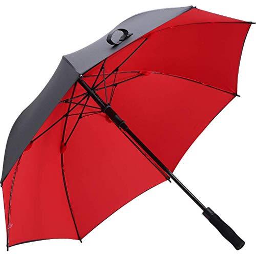 BJYG Golfschirm Doppelschirm Tuch Großer Taschenschirm mit langem Griff Regen und Regenschirm (Farbe: Rot)