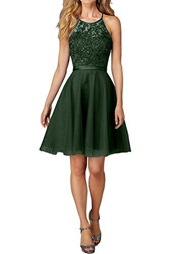 Charmant Damen Kurz Abendkleider Ballkleider mit Spitze Festlich kleider Mini Promkleider jugendweihe kleid-36 Dunkel Gruen Grüne Mini-kleid