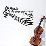 La música es la magia Arte de la pared Murales Calcomanías de música Vinilo Etiqueta de la pared para la sala de karaoke Dormitorio musical Papel tapiz extraíble decoración para el hogar
