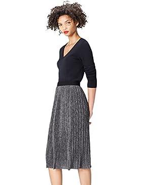 [Patrocinado]FIND Falda Metálica Plisada para Mujer