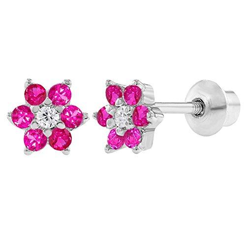 In Season Jewelry Baby Kleinkind Kinder - Schraubverschluss Ohrringe Heiße Rosa Blume 925 Sterling Silber CZ Zirkonia -