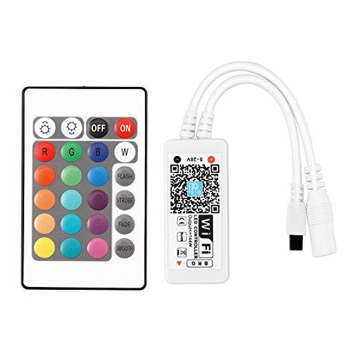 WiFi inalámbrico Controlador inteligente LED Trabaja con Amazon Alexa para tiras de luz LED RGB 5050 3528 5-28V Voz / Música App Control viene con 24 teclas de control remoto IR con Android e iOS