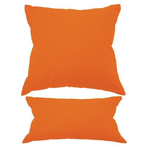 Nurtextil24 Kissenbezüge in 30 Unifarben und 20 Größen Orange 40 x 40 cm 100% Baumwolle mit Reißverschluss (Orange Wurfkissen)
