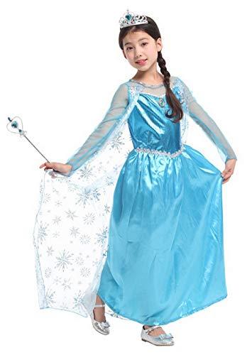 Kostüm Königin Winter Schnee - DEMU Kinder Prinzessin Kostüm für Karneval Verkleidung Party Mädchen Party Kleid Schnee Kleid + Krone + Zauberstab 120-130cm (7-9 Jahre)