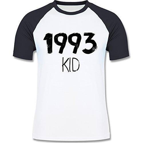 Geburtstag - 1993 KID - zweifarbiges Baseballshirt für Männer Weiß/Navy Blau