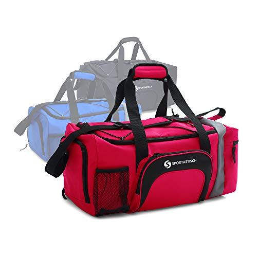 EXCELENTE: :: Bolsa deporte 'Sporty Bag' de Sportastisch :: Rojo :: talla: S (32L) :: Bolsa de viaje con compartimento para zapatillasy correa para el hombro