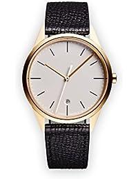 Uniform Wares C36 Quartz Watch with Beige Analogue Dial with Black Leather Strap