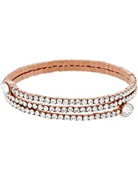 Swarovski Twisty Drop Bangle, White, Rose gold plating