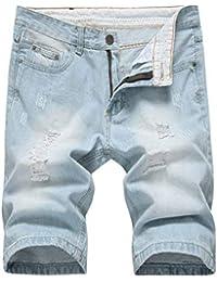 05574f0784203 Shorts pour Hommes Casual Slim Fit RT Hole Mâle Jeans Style Pantalon Court  Déchiré Nge Summer