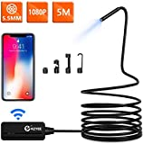 KZYEE Endoscopio Wireless 2,0 MP 5,5mm 1080P HD Telecamera di IspezioneBoroscopio Reset Impermeabile per iOS iPhone Android Smartphone Tablet- 5 M Semi-Rigido Cavo