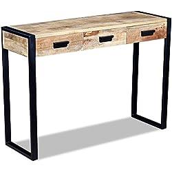 vidaXL Table Console présentation avec 3 tiroirs Bois de manguier Massif 110 x 35 78 cm