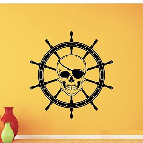 Piraten Schädel Wandtattoo Schiff Rad Kinderzimmer Dekor Nautische Vinyl Aufkleber Kinderzimmer Anime Selbstklebende Tapete42x44 cm (Dekor Piraten-kinderzimmer)