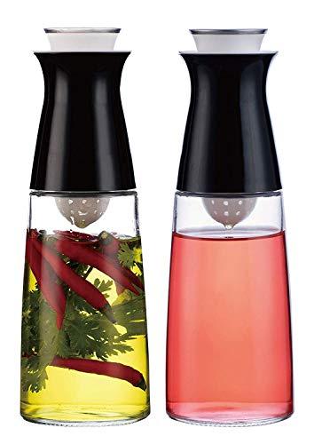 A|M|I|N|A Essig und Öl Spender Set - mit Kräutersieb | 2 x 320 ml Ölflasche zur Herstellung von Aroma-Öl