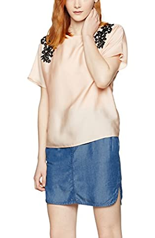 FIND Women's Lace Trim Shoulder Blouse, Beige (Champagne),
