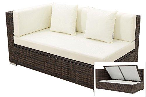 OUTFLEXX 2-Sitzer Ecksofa aus hochwertigem Polyrattan, braun marmoriert mit Kissenbox-Funktion,...