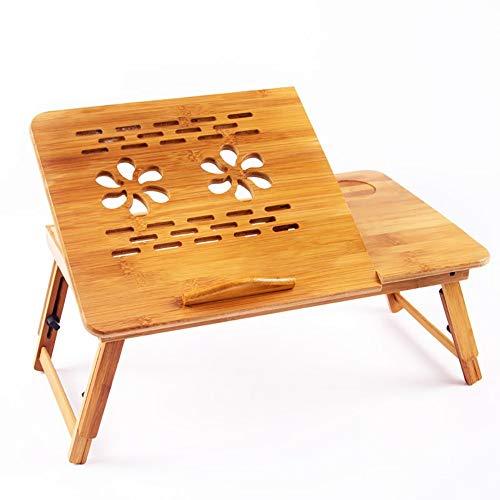 YOUXD Klappbarer Schreibtisch, Computertisch, Multifunktions-Lazy-Table Kann Auf Dem Bett 54 * 34 * 20-28cm Verwendet Werden - 2 Schubladen Naturholz-nachttisch