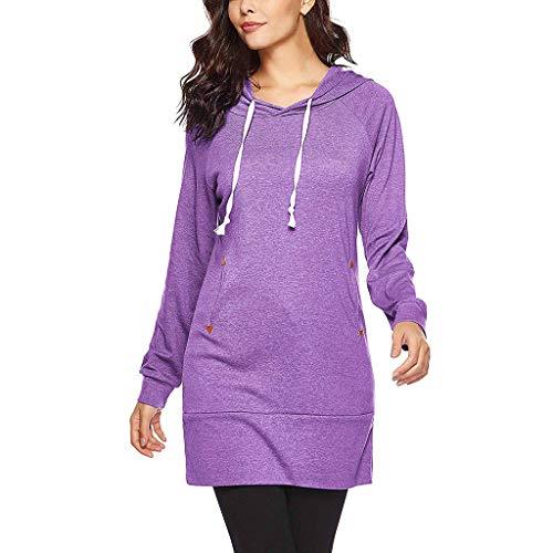 TOPKEAL Mode Damen Kapuzenpullover Herbst Winter Einfarbig Pullover Langarm Sweatshirt Hoodie mit Taschen Tunnelzug Frauen Tops (C1_Lila, XL) -