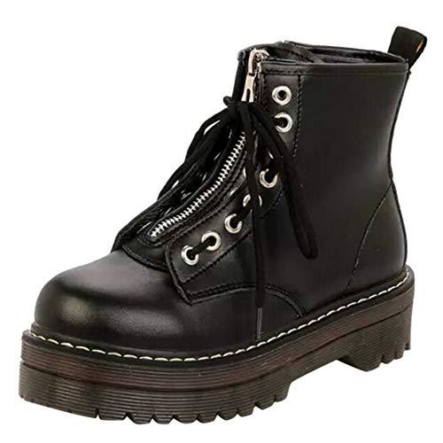 OYSOHE Damen Schnürstiefel Reißverschluss Leder Stiefel Runde Flache Schuhe Winterstiefel(Schwarz,37 EU)