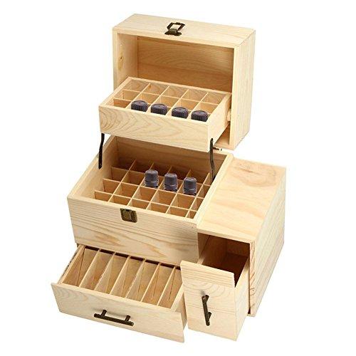 SinceY Hochwertige hölzerne ätherische Öl-Box, Multi-Tray Duft ätherisches Öl Organizer Aufbewahrungsbox Fall Display hält 45 ätherische Öl-Flaschen und 14 Roller-Flaschen für Reisen Geschenk-Box -