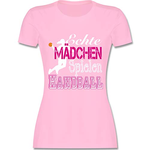 Handball - Echte Mädchen Spielen Handball weiß - XL - Rosa - L191 - Damen Tshirt und Frauen T-Shirt
