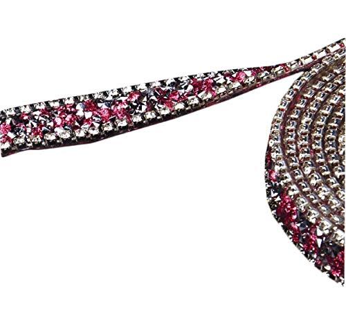 Yalulu 2 Yards 15mm Glitter Tape Perlen Strass Trim Eisen Auf Diamant Kristall Band Wrap Trim Klebeband Klebrige Hochzeitstorte Nähzubehör DIY Tape (Rosa)