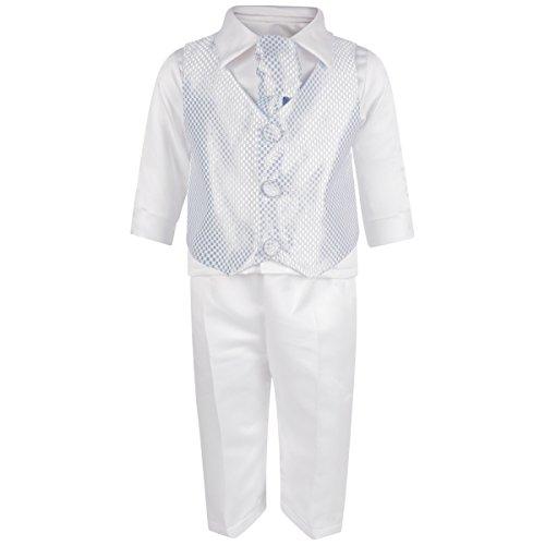 Baby Boys 4Piece festa di nozze speciale occasione outfit oro bianco blu Check Check Blue Check 9-12