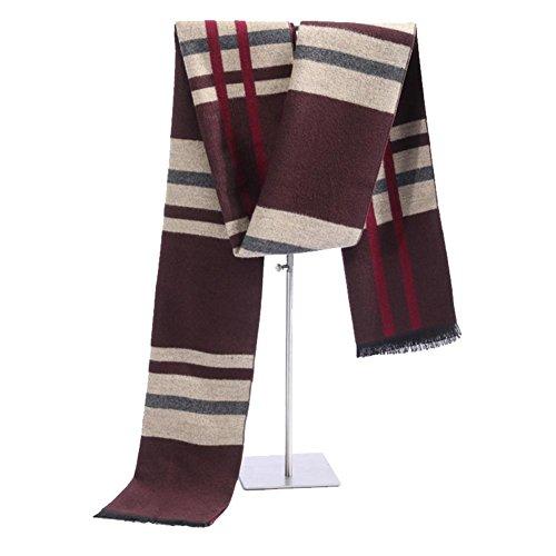QJIAXING Herren Schal Seide Gebürstetem Bambus Plaid Nähte Mode Halstuch für Männer mit Geschenkbox 180 * 30 cm , c , 180*30cm (Wolle-mischung Hahnentritt)
