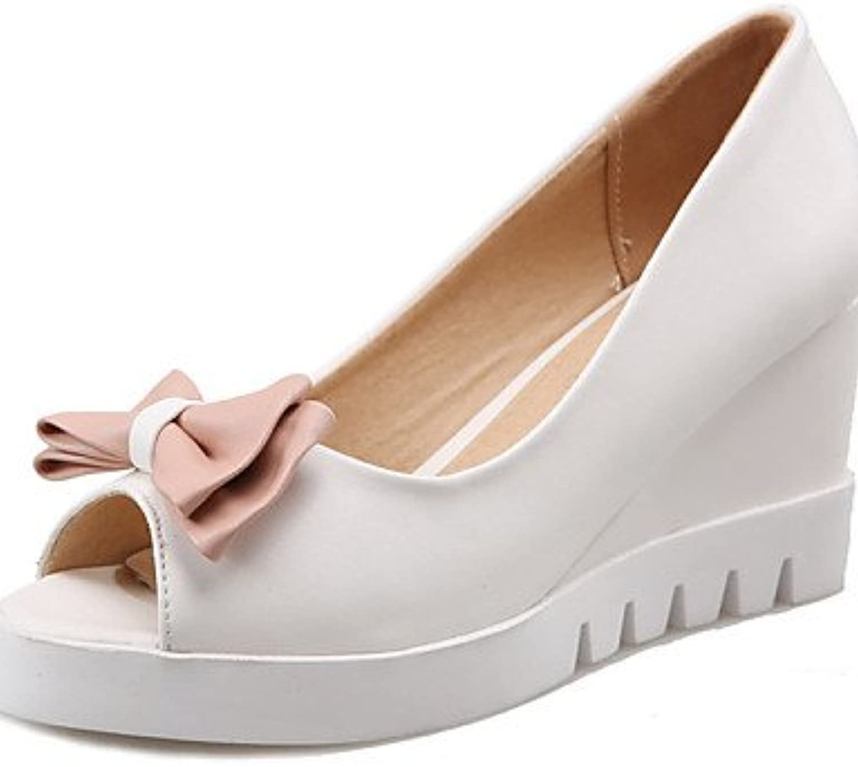 ZQ Zapatos de mujer-Tac¨®n Cu?a-Cu?as-Sandalias-Vestido / Casual-Semicuero-Azul / Rosa / Blanco , pink-us10.5...