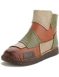 JUWOJIA Botas De Mujer Otoño Spell Color Retro Botas De Cuero Reales Blandas Botas Martin Zapatos Casuales Cómodos Hechos A Mano, Múltiples, 9