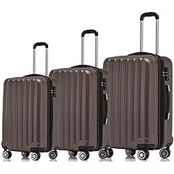 Beibye–Juego 3piezas 2045–Juego de maleta rígida en 12colores marrón marrón Set