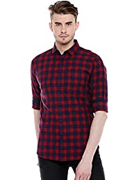 Dennis Lingo Men's Checkered Red Slim Fit Casual Shirt