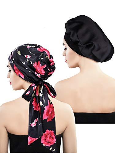 2 Stück Weiche Satin Haube Mütze Satin Kopftuch Pre-gebundener Kopf Wickel Schlaf Kopfbedeckung für Damen, 2 Typen (Schwarz Blumen mit Schwanz, Schwarz) -