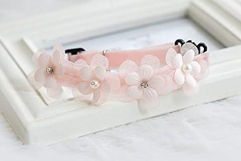 Collier Fleurs Cloche Pour Chiot Chien Décor Rose S