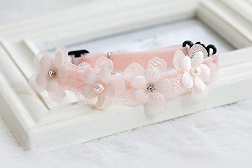 Haustier Hund Katze Halskette Krawatte Mit Blumenkunstperle Glocke Dekor - Rosa, M