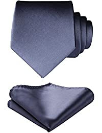 HISDERN Men's Solid Color Tie Handkerchief Wedding Party Classic Necktie & Pocket Square Set-Multiple Colors