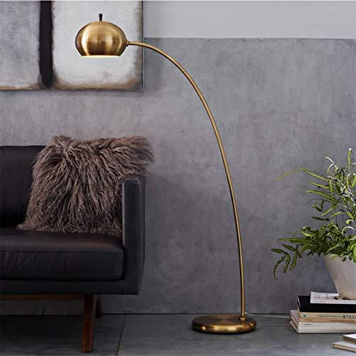 Floor Lamp, Nordic Vintage Brass Stand Lights Living Room Bedroom Simple Modern Metal Arc Reading Standing Light, Design Fixture Lighting -